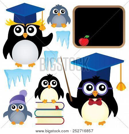 School Penguins Theme Set 1 - Eps10 Vector Picture Illustration.