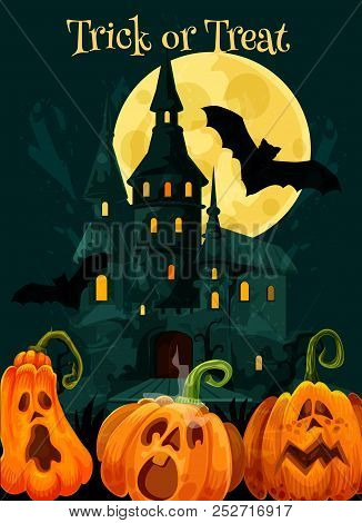 Halloween Greeting Card Of Pumpkin Scary Lantern For Trick Or Treat October Holiday Party Celebratio
