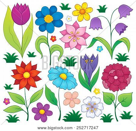 Spring Flowers Thematic Set 1 - Eps10 Vector Picture Illustration.