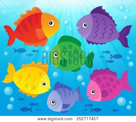 Stylized Fishes Theme Image 3 - Eps10 Vector Picture Illustration.