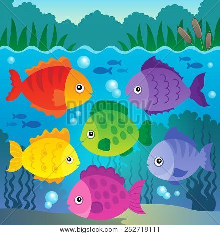 Stylized Fishes Theme Image 9 - Eps10 Vector Picture Illustration.