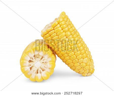 Corn Isolated On White Background. Fingers, Grain, Isolate, Ingredients, Isolation, Ear,