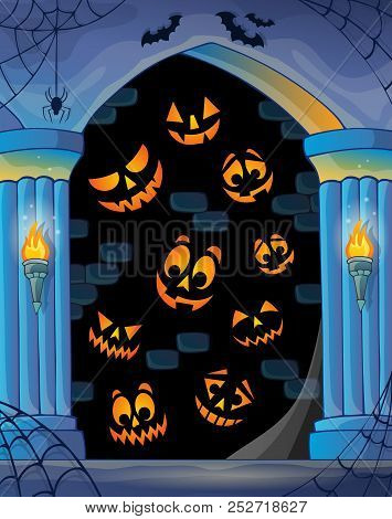 Wall Alcove With Halloween Topic 1 - Eps10 Vector Picture Illustration.