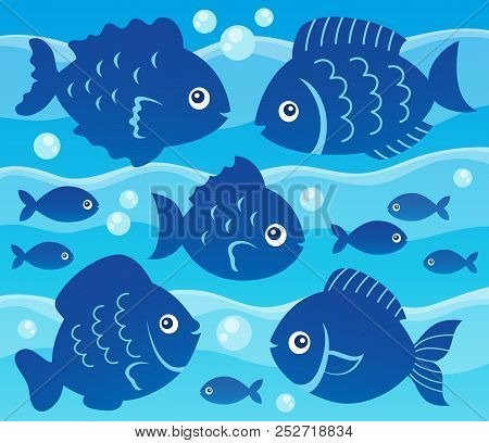 Water And Fish Silhouettes Image 3 - Eps10 Vector Picture Illustration.