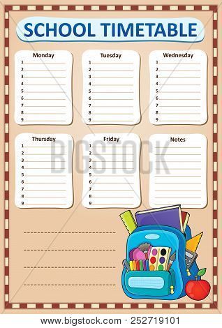 Weekly School Timetable Design 2 - Eps10 Vector Picture Illustration.