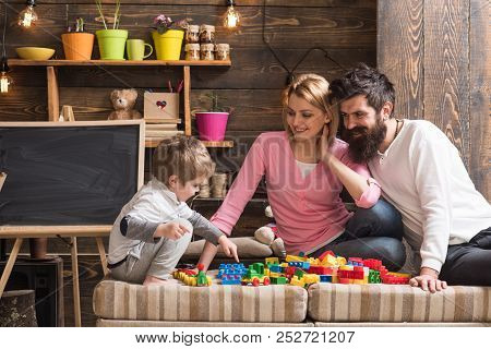 Fun Concept. Learning Is Fun. Family Have Fun With Construction Set. Real Fun