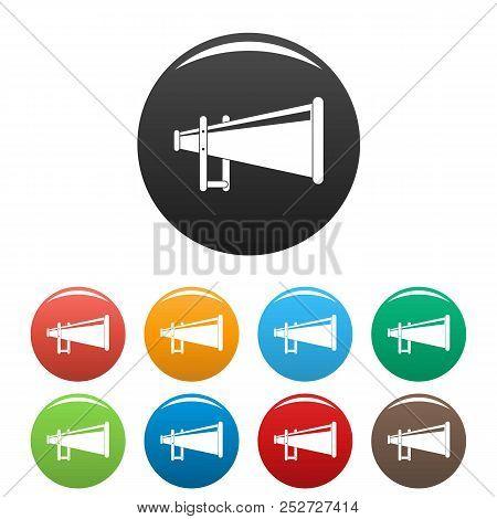 Portable Megaphone Icon. Simple Illustration Of Portable Megaphone Icons Set Color Isolated On White
