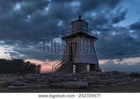 Beautiful, Port Clinton, Lighthouse, Sunset Night Shot