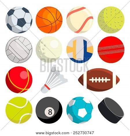 Sport Balls Set Vector. Round Sport Equipment. Game Classic Balls. Gaming Icons. Soccer, Rugby, Base