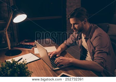 Portrait Of Attractive Programmer, Hard Worker, Busy Man In Shirt With Hairstyle Working At Night, T