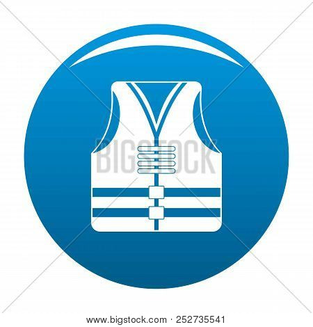 Rescue Vest Icon. Simple Illustration Of Rescue Vest Icon For Any Design Blue