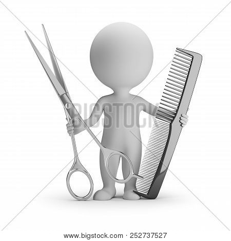 3d Small People - Hairdresser With Big Scissors And Comb. 3d Image. White Background.