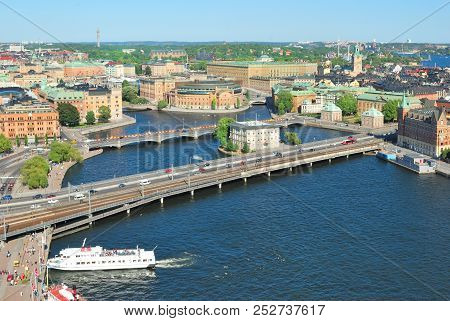 Sweden. View Of The Old Town Of Stockholm From The Town Hall Tower