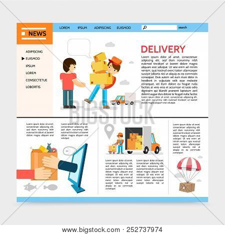 Flat Delivery Service Website Template With Courier Deliver Goods To Client Package Flying On Parach