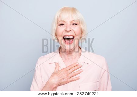 Closeup Portrait Of Old Adult Caucasian Blonde Glad Cheerful Amazed Surprised Lady Smiling, Opened M
