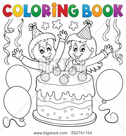 Coloring Book Cake And Kids Celebrating - Eps10 Vector Picture Illustration.