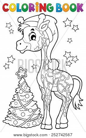 Coloring Book Christmas Giraffe - Eps10 Vector Picture Illustration.