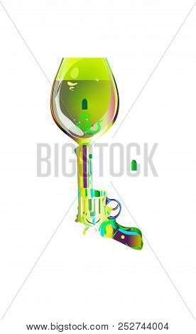 Shot Drink. Revolver Sketch Goblet Absinthe Liqueur. Printing On T-shirts And Other Items. Vector Il