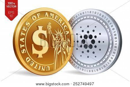 Cardano. Dollar Coin. 3d Isometric Physical Coins. Digital Currency. Cryptocurrency. Golden And Silv