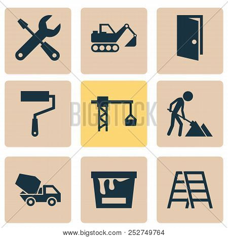 Construction Icons Set With Construction Works, Color Can, Door And Other Service  Elements. Isolate