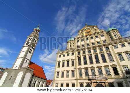 Townhall Of Augsburg With St. Peter