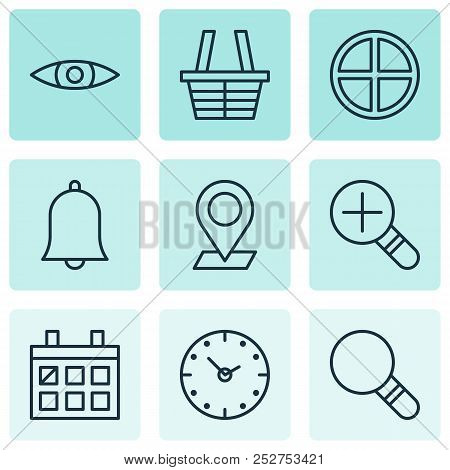 Web Icons Set With Magnifier, Almanac, Check In And Other Calendar Elements. Isolated Vector Illustr
