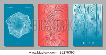 Wave Lines. Abstract Covers With Movement And Distortion Effect. Flow Striped Backgrounds. Geometric