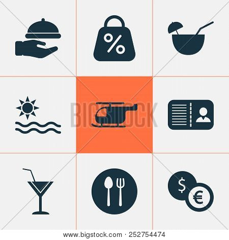 Journey Icons Set With Certification, Exchange Money, Waiter And Other Chopper Elements. Isolated  I