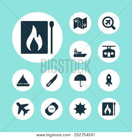 Journey Icons Set With Rocket, Parasol, Map With Route And Other Flight Elements. Isolated  Illustra