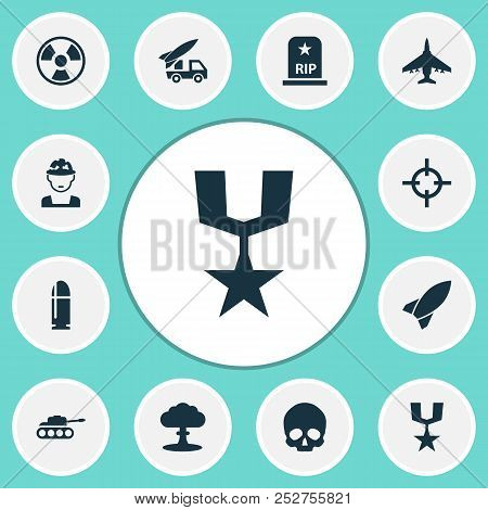 Warfare icons set with fighter, nuclear explosion, skull and other ordnance elements. Isolated  illustration warfare icons. poster