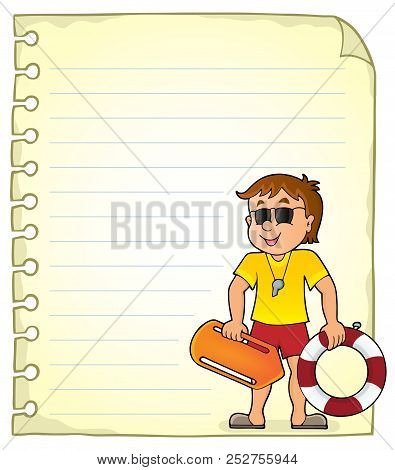 Notepad Page With Life Guard - Eps10 Vector Picture Illustration.
