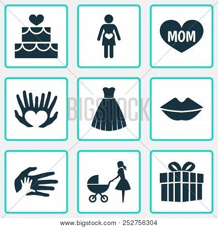 Mothers Day Icon Design Concept. Set Of 9 Such Elements As Perambulator, Hands, Palms. Beautiful Sym