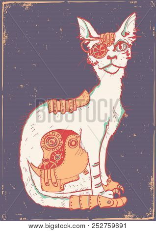 Cat With Mechanical Parts Of Body. Hand Drawn Color Illustration On Old Paper Poster