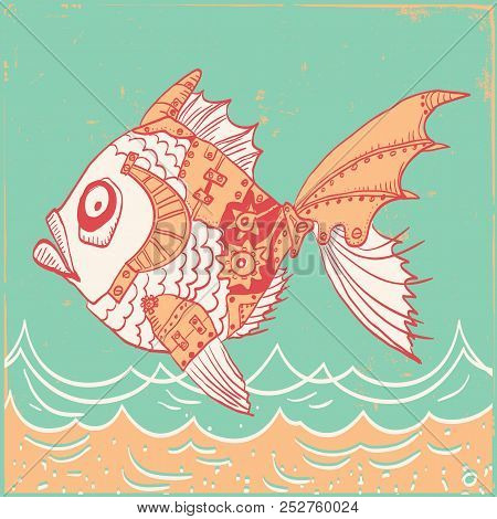 Fish With Mechanical Parts Of Body. Hand Drawn Background Illustration On Old Paper