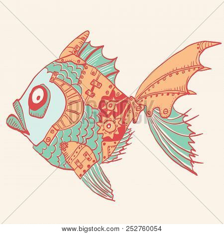 Fish With Mechanical Parts Of Body. Hand Drawn Steampunk Illustration