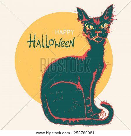 Black Cat And Big Moon. Hand Drawn Color Halloween Card Illustration