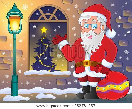 Santa Claus On Sidewalk Theme 3 - Eps10 Vector Picture Illustration.