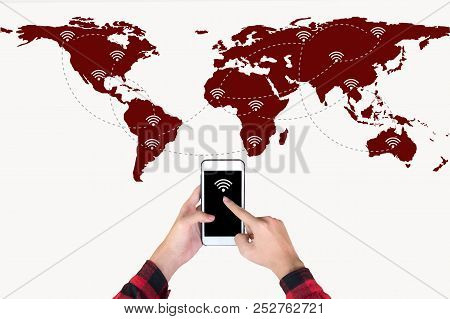 Hand Holding Smart Phone On World Map Network And Wireless Communication Network, Abstract Image Vis