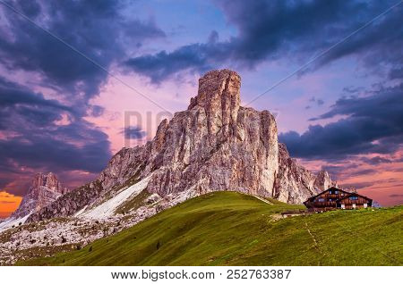 Sunset Over Nuvolau Massif In Dolomiti, Italy. View From Passo Giau Over Mount Ra Gusela, South Tiro