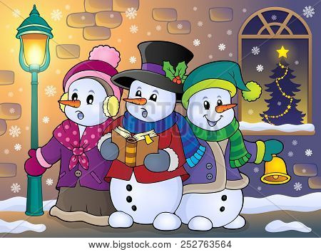 Snowmen Carol Singers Theme Image 5 - Eps10 Vector Picture Illustration.