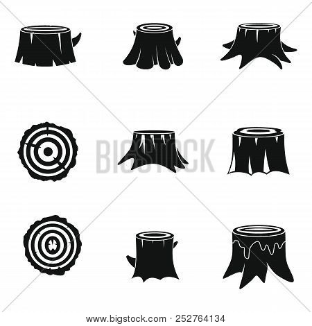 Stumps Tree Log Wood Icons Set. Simple Illustration Of 16 Stumps Tree Log Wood Icons For Web