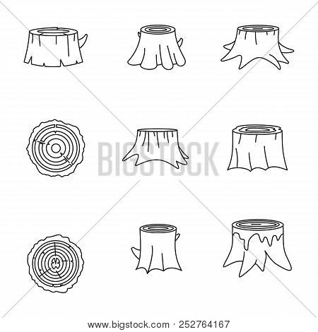 Stumps Tree Log Wood Icons Set. Outline Illustration Of 16 Stumps Tree Log Wood Icons For Web
