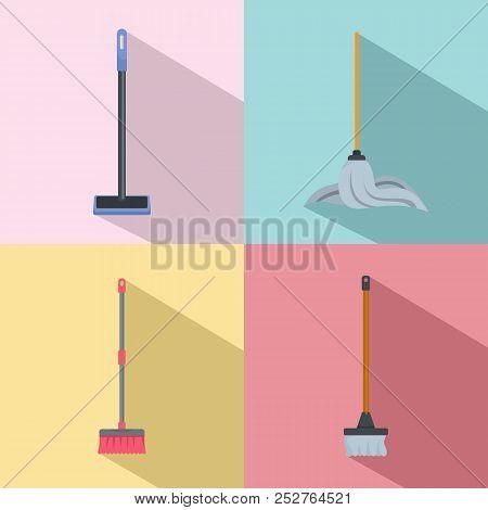 Mop Cleaning Swab Icons Set. Flat Illustration Of 4 Mop Cleaning Swab Icons For Web