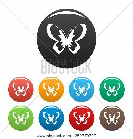 Unknown Butterfly Icon. Simple Illustration Of Unknown Butterfly Icons Set Color Isolated On White