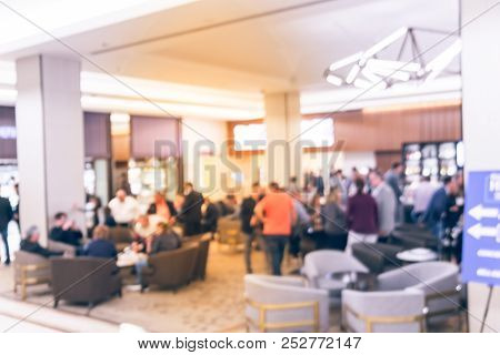 Vintage Abstract Defocused Background People Hang Out At Lobby Of Luxury Hotel