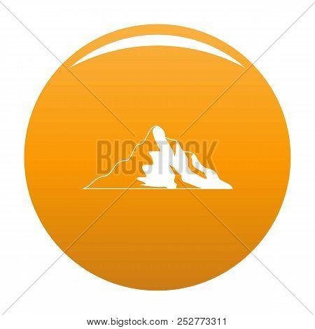 Snow Mountain Icon. Simple Illustration Of Snow Mountain Icon For Any Design Orange
