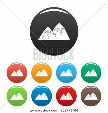 Snow Peak Icon. Simple Illustration Of Snow Peak Icons Set Color Isolated On White