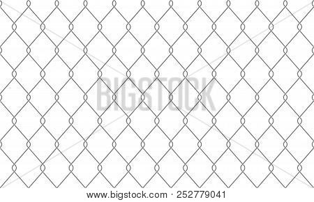 Chain-link Fence Seamless Pattern Background. Vector Realistic Metal Or Wire Mesh Netting Or Chain L