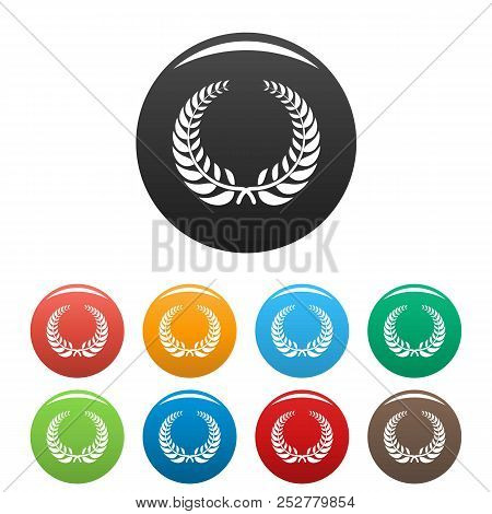 Victory Wreath Icon. Simple Illustration Of Victory Wreath Icons Set Color Isolated On White