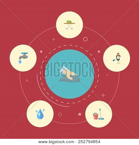 Set Of Cleaning Icons Flat Style Symbols With Drop Water, Tap Water, Bucket With Besom And Other Ico